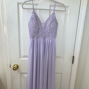 Lulus Back Tie Chiffon Evening Dress